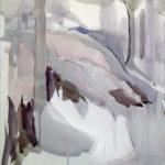 Lunta kallioilla, akvarellityö