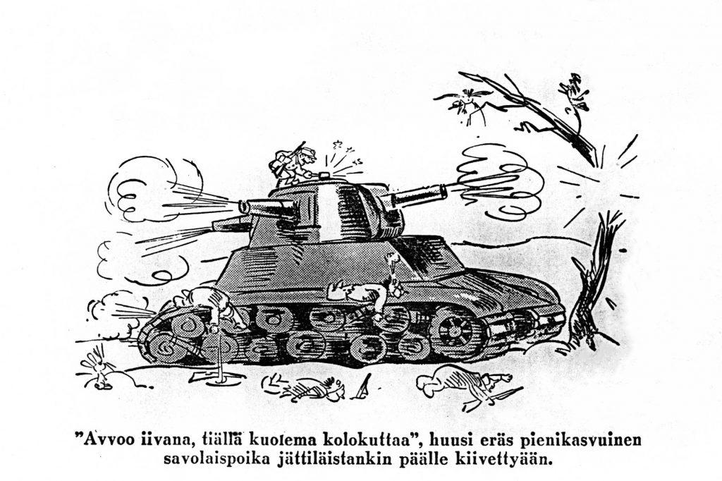 tankin tuhoaminen -postikortti