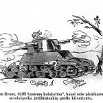 Arnold Tilgmannin piirtämä postikortti Einar Schadewitzin hyökkäysvaunuepisodista (Paavo Frimanin kokoelma)