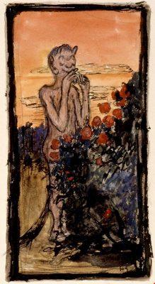 Piru ruusupensaassa, Hugo Simberg