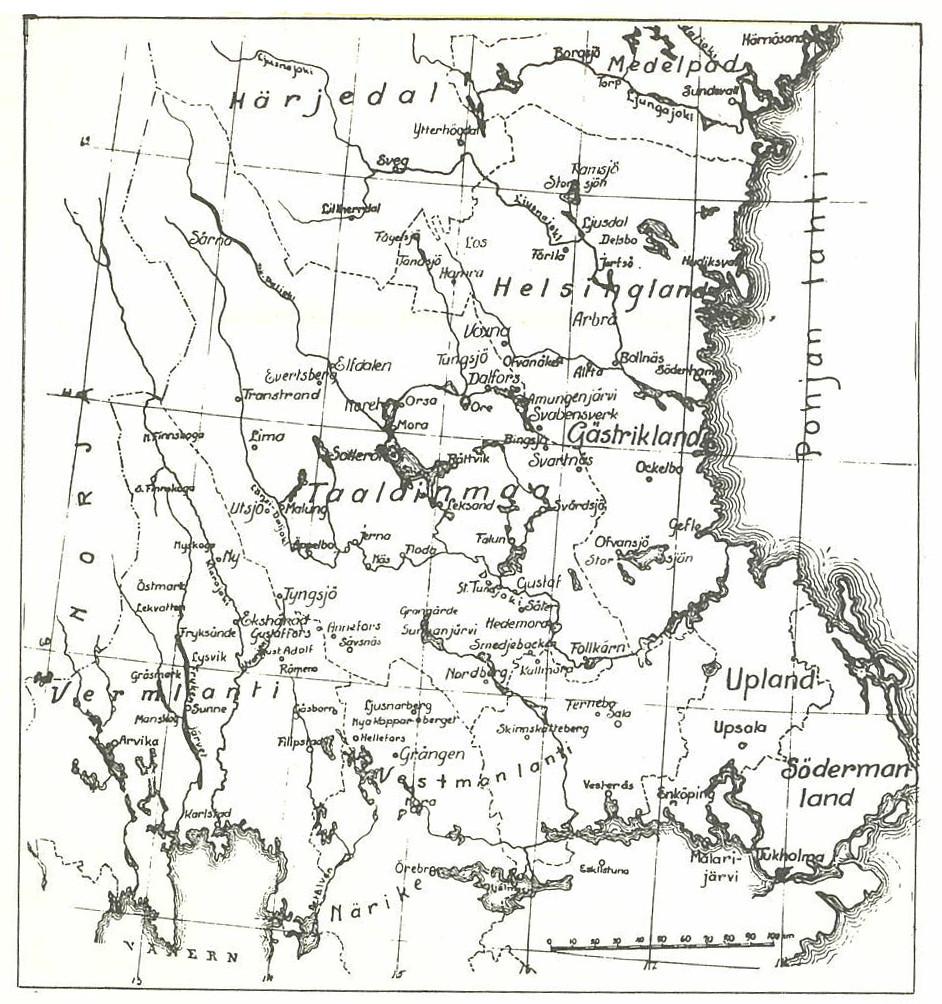 metsäsuomalaisalueen kartta